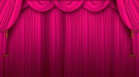 hänger upp gardiner theatren Arkivbild