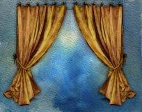 hänger upp gardiner vattenfärgyellow Arkivbild