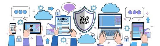 Hänglås för minnestavla för sköld för datasäkerhetsmoln över säkerhet för server för reglering GDPR för skydd för allmänna data f royaltyfri illustrationer