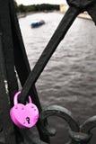 Hänglås för purpurfärgad hjärta Royaltyfri Fotografi