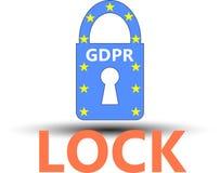 Hänglås för reglering GDPR för skydd för allmänna data Royaltyfri Fotografi