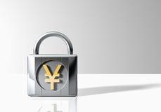 Hänglås med Yen Symbol fotografering för bildbyråer