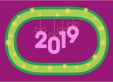 Hängning för nummer 2019 på en stiliserad krans som uppblåsbara ballonger eller prydnader år royaltyfri illustrationer