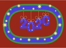 Hängning för nummer 2020 på en stiliserad krans som uppblåsbara ballonger eller prydnader år royaltyfri illustrationer