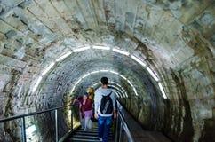 Hänrycka korridoren i den salta minen Turda, Cluj, Ro Arkivbilder