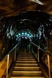 Hänrycka korridoren i turden för den salta minen, Cluj, Rumänien Arkivfoton