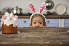 Häpen liten unge som söker efter sötsaker fotografering för bildbyråer