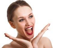 häpen spännande glädje som skriker den förvånada kvinnan Arkivbilder