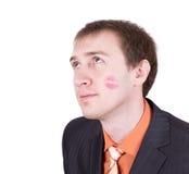 häpen tät framsida kysst man upp Royaltyfria Bilder