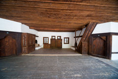 Här bor munkarna den Rila kloster i Bulgarien Arkivfoton
