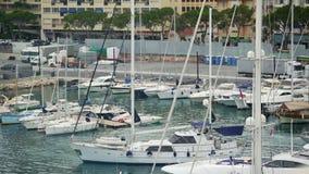 Härbärgera med många anslöt fartyg och dyra yachter, lyxig hobby av de rika stock video