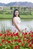Härlig äng för ung kvinna av blommor Arkivfoton
