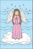 Härlig ängel på molnet Arkivfoto