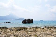 Härlig ö av Gramvousa, blått hav för kristall - Grekland Royaltyfri Fotografi