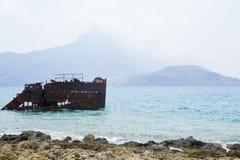Härlig ö av Gramvousa, blått hav för kristall - Grekland Arkivfoto
