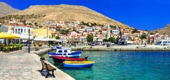 härlig ö Chalki (Dodecanese) Royaltyfria Foton