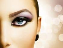 härlig ögonmakeup Fotografering för Bildbyråer