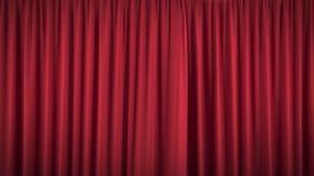 Härlig öppning och stängande röd gardin stock illustrationer