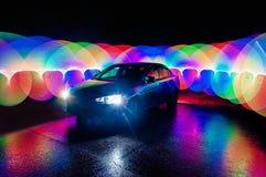 Härlig abstrakt futuristisk måla färgtextur med belysningeffekt på bilen arkivfoto
