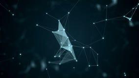 Härlig abstrakt geometrisk bakgrund fodrar och prickar, plexus långsam rörelse stock video