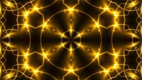 Härlig abstrakt kalejdoskop - framför guld- ljus för fractalen, 3d bakgrunden, datoren som frambringar bakgrund Arkivfoto