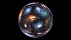 Härlig abstrakt roterande Exponeringsglas-metall fotbollboll royaltyfri illustrationer