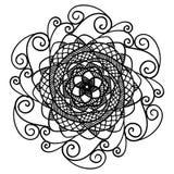 Härlig abstrakt svart mandala som isoleras på vit royaltyfri illustrationer