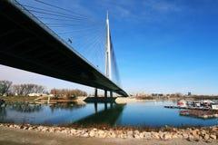 Härlig Ada-bro i Belgrade, Serbien arkivbild