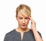 Härlig affärskvinna With Headache Royaltyfri Foto