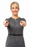 Härlig affärskvinna Pointing At You Arkivbilder