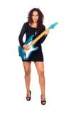 Härlig affärskvinna som leker den elektriska gitarren Arkivfoton