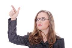 härlig affärskvinna som pekar barn Royaltyfria Foton