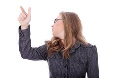 härlig affärskvinna som pekar barn Arkivfoto
