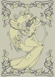 Härlig affisch i jugendstilstil med den felika kvinnan och måne och blom- ram Arkivbilder