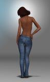 Härlig afrikansk amerikankvinna i jeans Arkivfoton