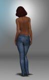 Härlig afrikansk amerikankvinna i jeans Arkivbild