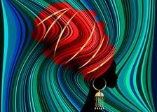 Härlig afrikansk kvinna för stående i för Kente för traditionell turban den röda afrikanen för sjal huvud, traditionell dashikipr stock illustrationer