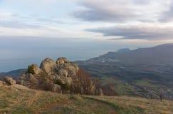 Härlig afton i bergen Demerji Krim Arkivfoto