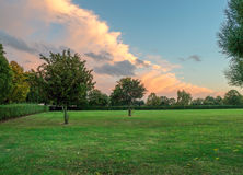 Härlig aftonhimmel i en Essex parkerar Arkivbild