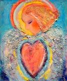 Härlig akrylmålning på kanfas av en mystisk ängel i röd hjärta som omges av den abstrakta vingen Räcka den utdragna ståenden stock illustrationer
