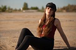 Härlig amerikansk flicka amerikansk stil arkivfoto