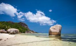 Härlig Anse källD'Argent strand Royaltyfri Bild