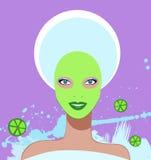 härlig ansikts- maskeringsbrunnsortkvinna Royaltyfri Fotografi
