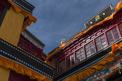 Härlig arkitektur av den övreThiksay kloster Royaltyfri Bild