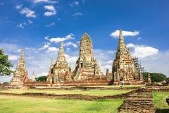 Härlig arkitektur av den Chaiwatthanaram templet, Thailand arkivfoto
