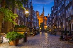 Härlig arkitektur av den Mariacka gatan i Gdansk Arkivbilder