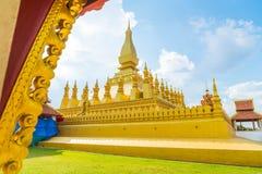 Härlig arkitektur på Pha som Luang, Vientiane, Laos Arkivfoton