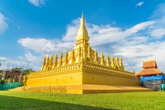 Härlig arkitektur på Pha som Luang, Vientiane, Laos Royaltyfri Bild