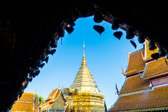 Härlig arkitektur på Wat Phra That Doi Suthep i Chiang Mai Royaltyfria Bilder