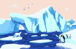 Härlig arktisk eller antarktiskt landskap Ursnyggt landskap med stora isberg som svävar i havet, isbjörn, pingvin royaltyfri illustrationer